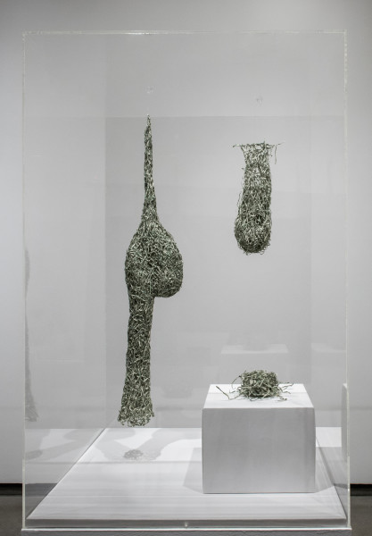Fiona Hall Forest Mortgage, 2016; Shredded US dollar bills; 3 pieces: 103 x 15 x 15cm; 60 x 15 x 15cm; 15 x 15 x 15cm; enquire