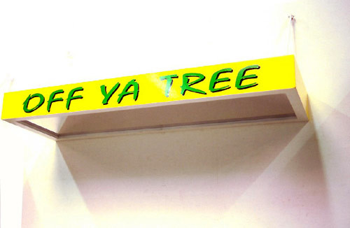 Callum Morton Off Ya Tree, 1998; wood, laminate, enamel, acrylic, aluminium, vinyl; 150 x 50 x 15 cm; enquire