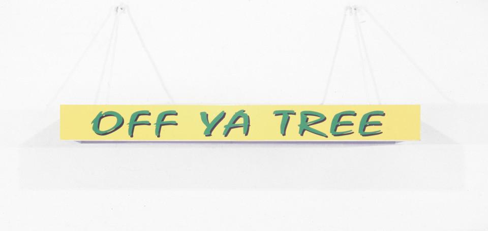 Callum Morton Off Ya Tree, 1998; wood, laminate, enamel, acrylic, aluminium, vinyl; 150 x 50 x 15 cm; enquire