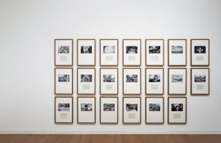Newell Harry Trade Delivers People (sometimes): Vignettes for N.J. (detail), 2017; Two part installation - Part one: twenty framed Lambda prints on Fuji Lustre paper, selected images from artist's archive (2007-2017), hand-typed texts on parchment paper (transcribed from travel journals 2005-17), artist's stamp; Part two: vessel of pulped Port Vila Daily Post newspapers (collected 1999-2011), concrete pot planters, various found/made/collected/gifted artifacts, pencil, artist's stamp, artist designed acrylic and steel structure; Part one: 65cm x 45cm (framed/each); Part two: 169cm x 35 cm x 35cm; enquire
