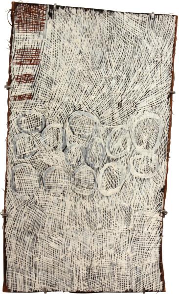 Nyapanyapa Yunupingu Gapan Mangutji, 2011; 3936Q; natural earth pigments on bark; 66 x 39 cm; enquire