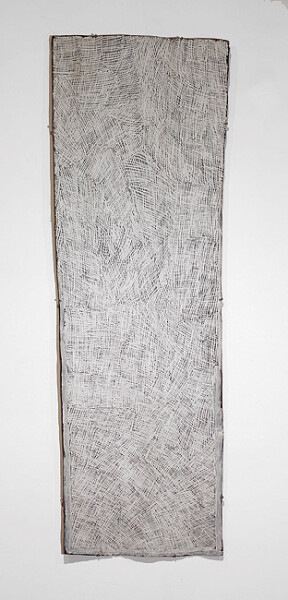 Nyapanyapa Yunupingu Untitled, 2012; 3965J; natural earth pigments on bark; 158 x 51 cm; enquire