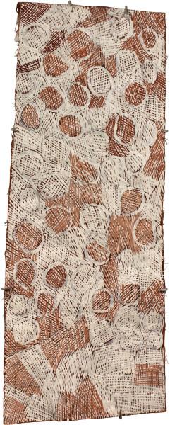 Nyapanyapa Yunupingu Circles, 2011; 3915U; natural earth pigments on bark; 103 x 41 cm; enquire