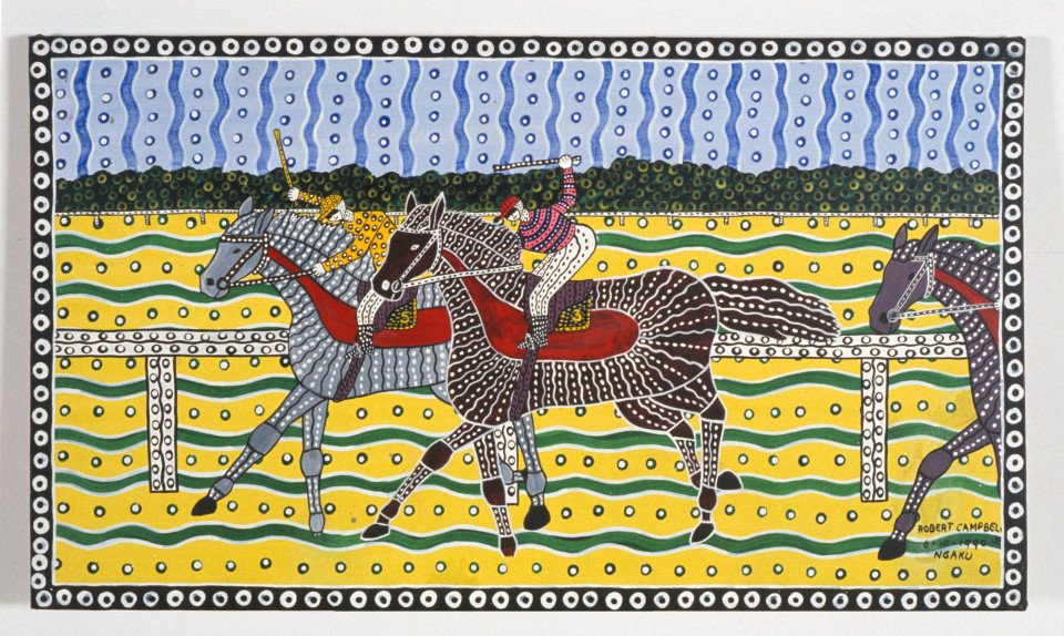 Robert Campbell Jnr Horse Racing, 1990; acrylic on canvas; 55 x 95 cm; enquire