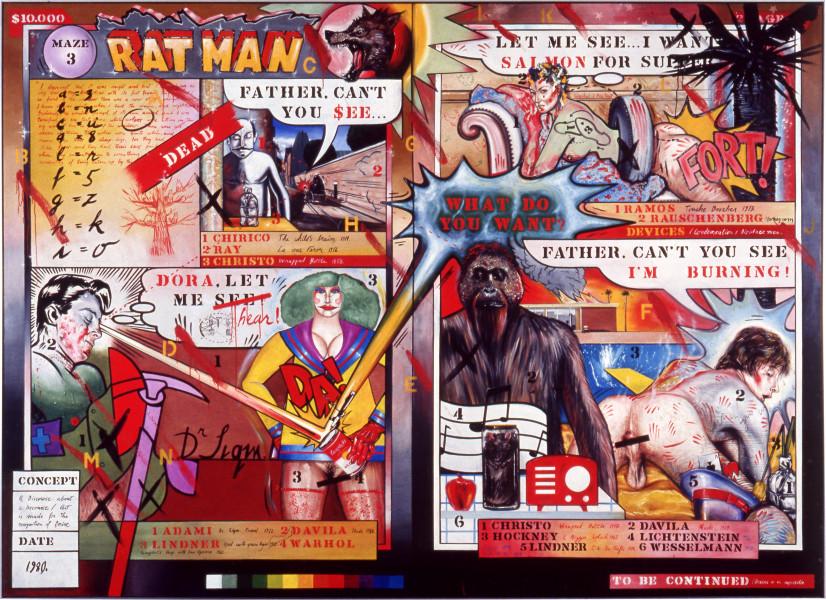 Juan Davila Rat Man, 1980; acrylic on canvas; 200 x 276 cm; enquire