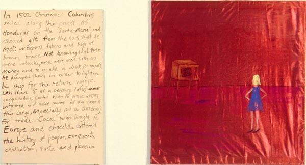 Jenny Watson Rawhide, 1999; acrylic on rabbit skin glue-primed taffeta and acrylic on stretcher; 96 x 90 cm, 92 x 60 cm; enquire