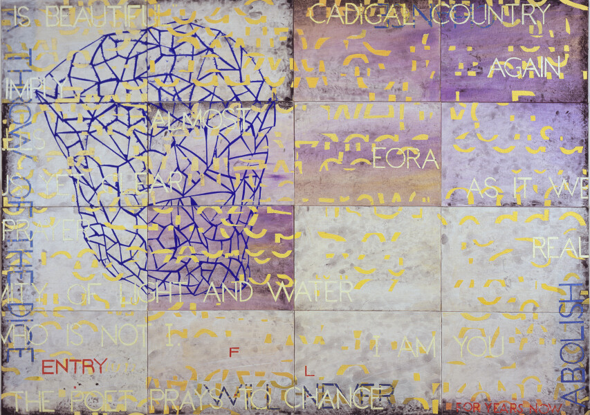 Imants Tillers Nature Speaks: FL, 2015; from the series Sung into Being; acrylic, gouache on 16 canvas boards, no. 96241 - 96256; 100 x 141 cm; Enquire