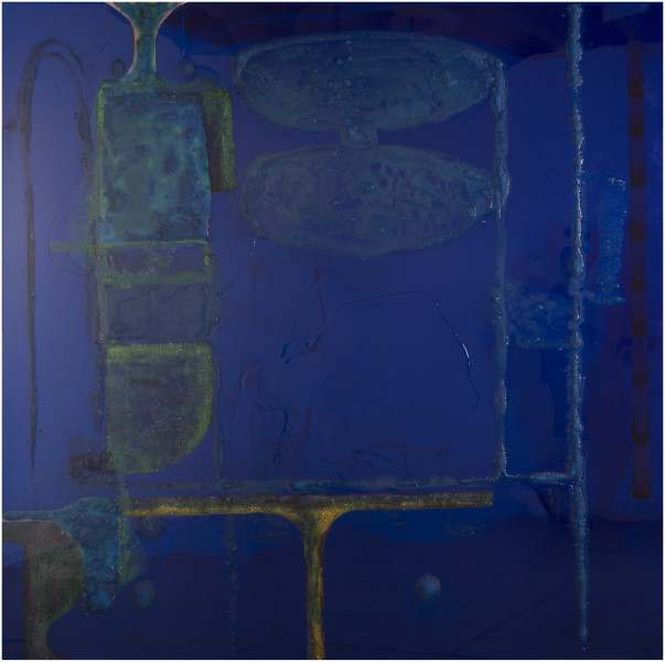 Dale Frank 9 Songs / Geometric Abstraction 1 / Pitt and York, 2016; Copper Sulphate cryCopper Sulphate crystals and  glitter in Liquid Glass on perspex; 200 x 200 cm; enquire