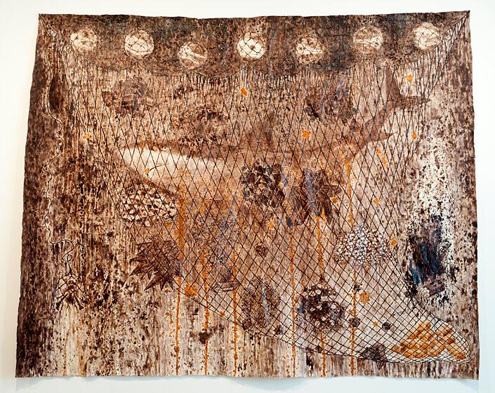 Fiona Hall Fools Gold, 2012; Tongan ngatu dye and ochre on barkcloth; 310 x 390 cm; Enquire