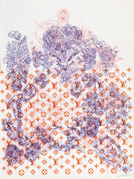 Wim Delvoye Untitled (tattoo drawing #10), 2007; pencil and coloured pencil on paper; 70.5 x 52.6 cm; enquire