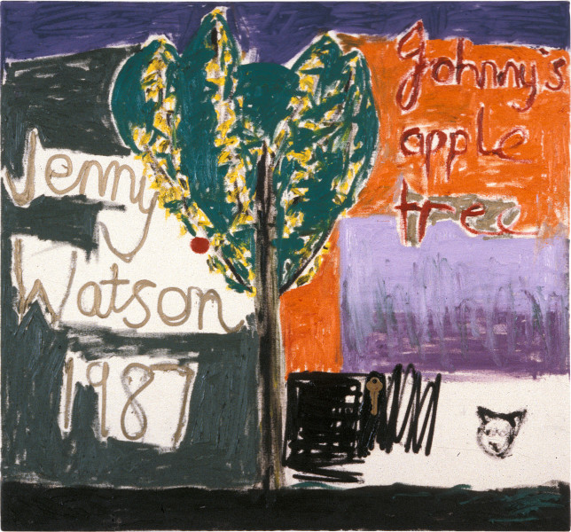 Jenny Watson Johnny's Apple Tree, 1987; oil, gouache and key on duck,; 71 x 71 cm; enquire