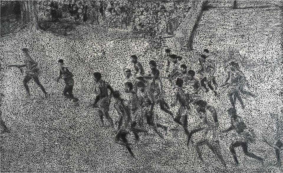 Daniel Boyd Untitled (MPR), 2016; oil, charcoal and polymer medium on canvas; 183 x 300 cm; enquire