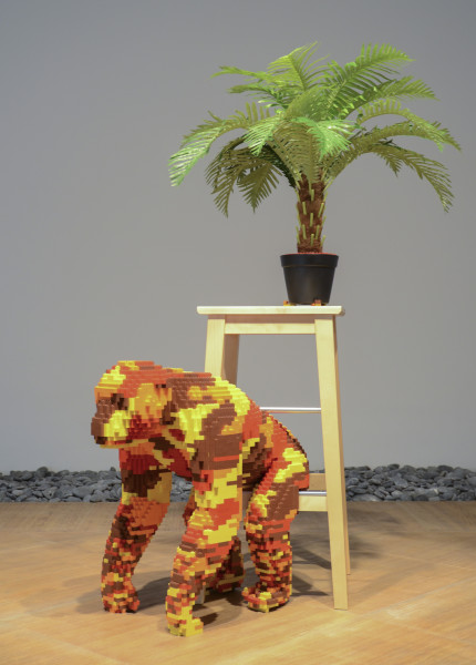 Claire Healy and Sean Cordeiro Breakfast Bar / Kitchen – Chimpanzee, 2011; Lego, Ikea bar stool, plant; 140 x 65 x 58 cm; enquire