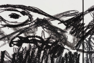 Pierre Mukeba Flying Elephant (detail), 2021; charcoal on archival paper; 90 x 168 cm; enquire