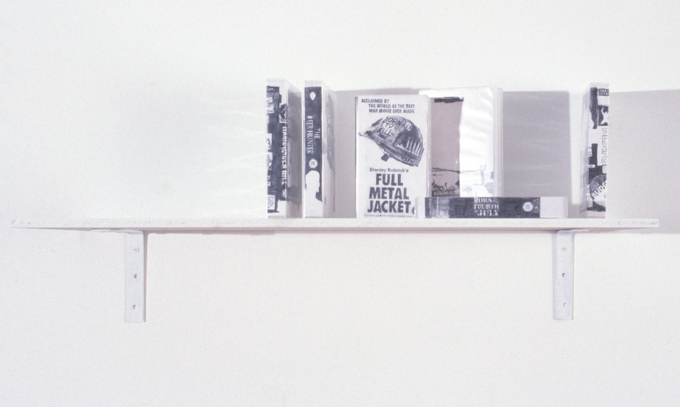 Fiona Banner Hamburger Hill / Born on the 4th July / Full Metal Jacket / Platoon / The Deerhunter / Apocalypse Now, 1996; 6 video boxes with drawing, pencil on paper inside video box jackets; each box 22 x 14 x 3 cm; enquire