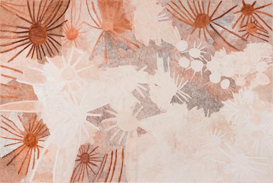 Nyapanyapa Yunupingu Ganyu, 2020; 2071-20; natural earth pigments on board; 240 x 360 cm; enquire