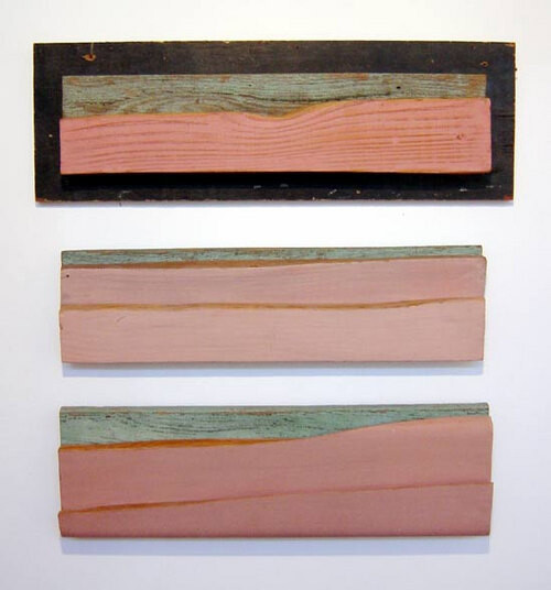 Rosalie Gascoigne Untitled (three landscapes), 1993-95; Formboard and painted wood; 3 pieces: 23 x 70; 18.5 x 62; 16 x 61 cm; Depth 6 cm; enquire