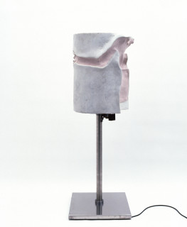 Julie Rrap Prosthetic Knight (detail), 1997; fibreglass, rubber, marble dust, stainless steel base, electric motor; enquire