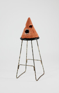 Nell The bitch of deathlessness, 2015; The Wake No. 38; concrete, oxide, acrylic paint, natural pearls, metal and wooden stool; 92 x 35 x 33.5 cm; object: 30.5 x 26.4 x 25.6 cm stool : 61.4 x 34.3 x 33.4cm; enquire