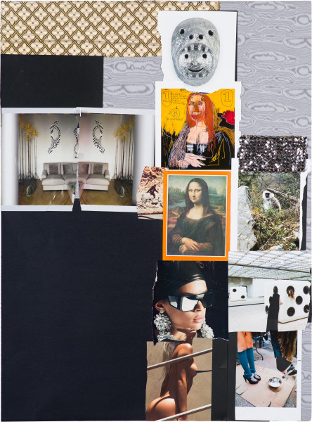 Jacqueline Fraser THE MAKING OF BEATRIZ AT DINNER 2019, 2019; collaged mixed media; 122 x 90 cm; enquire