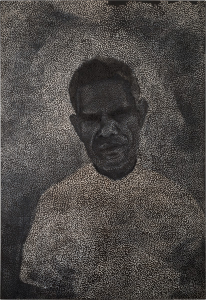 Daniel Boyd Untitled (HM), 2013; oil and archival glue on linen; 245 x 167.5 cm; enquire