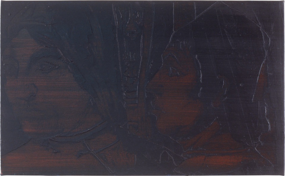 Lindy Lee Deeds and Words, 1991; oils and wax on canvas; 43.5 x 70 cm; enquire