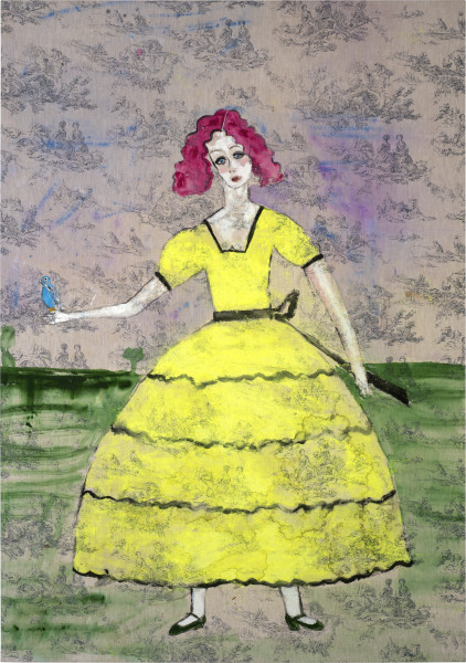 Jenny Watson Scarlett O'Hara with a budgerigar, 2014; acrylic and Japanese pigment on rabbit skin glue primed English printed linen; 182 x 128 cm; enquire