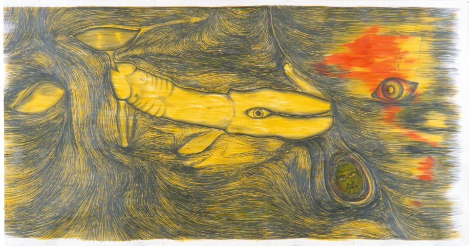 Dale Frank The Beached Sperm Whale and his affection to the disinfected onlooker  – An Art Moral, 1985; pencil on paper; 182 x 356 cm; enquire