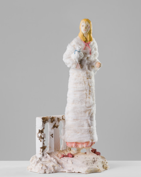 Linda Marrinon Woman with white dog, 2020; plaster and cotton wool; 65 x 33 x 27 cm; enquire