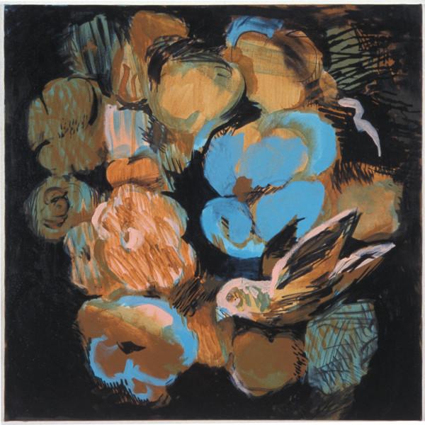 Tony Clark Flowerpiece with Bird, 2003; acrylic on canvas; 61 x 61 cm; enquire