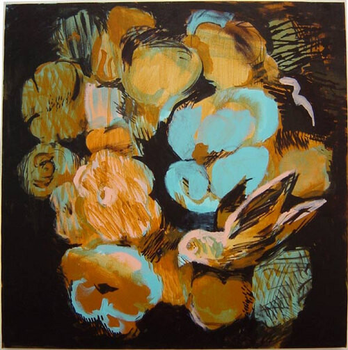 Tony Clark Flowerpiece with Bird, 2003; acrylic on canvas; 61 x 61 cm; enquire