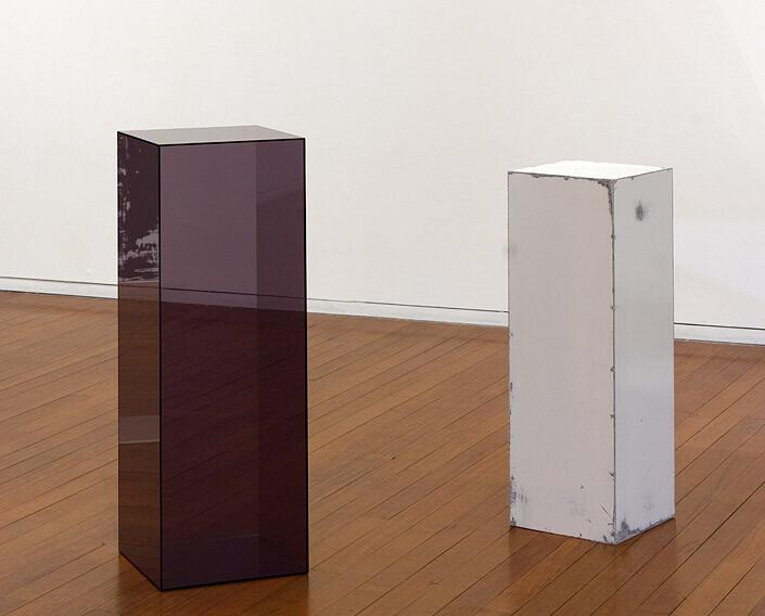 Carla Liesch Hour Glass IV, 2012; MDF, acrylic paint, perspex plinths, estrapol; part A: 102 x 35.5 x 35.5 cm, part B: 90 x 30 x 30 cm; enquire