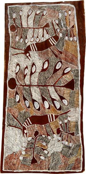Nyapanyapa Yunupingu Buffalos in the Apples, 2008; natural earth pigments on bark; 152 x 72 cm; enquire