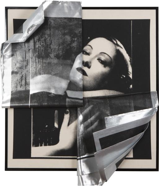 Sarah  Contos Eclipsing Hollywood (Gloria #2), 2017; screen print on canvas and metallic fabric, aluminium; 105 x 90 x 20 cm; Enquire