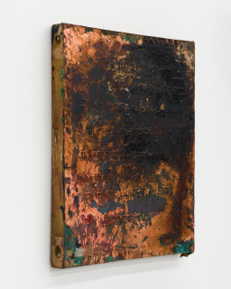 Kirtika Kain The Solar Line XXVIII, 2020; Tar, screen printing emulsion, copper leaf, silicon carbide, disused silk screen; 41.5 x 34 cm; enquire