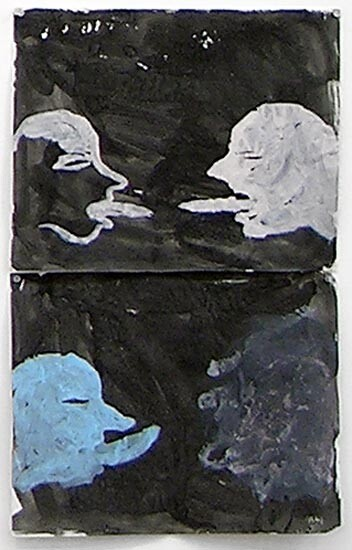 Newell Harry Untitled: Heads, 2004; ink, gesso, acrylic on ironed Fabriano paper,two parts; overall dimensions: 59 cm x 40 cm; enquire