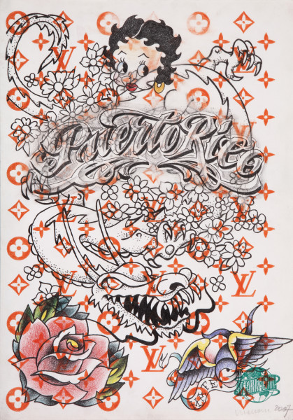Wim Delvoye Untitled (tattoo drawing #4), 2007; pencil and coloured pencil on paper; 42 x 29.5 cm; enquire