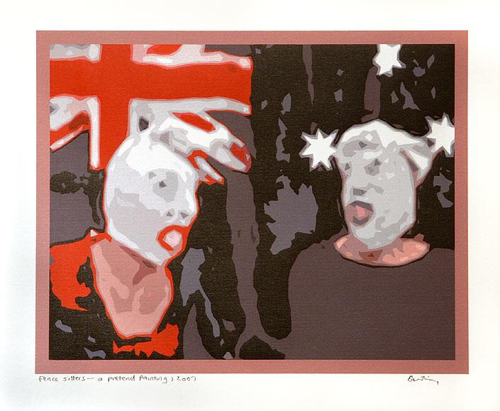 Destiny Deacon Fence sitters – pretend painting, 2007; Lightjet print from digital image; 40 x 50.5 cm; Edition of 8 + AP 2; enquire