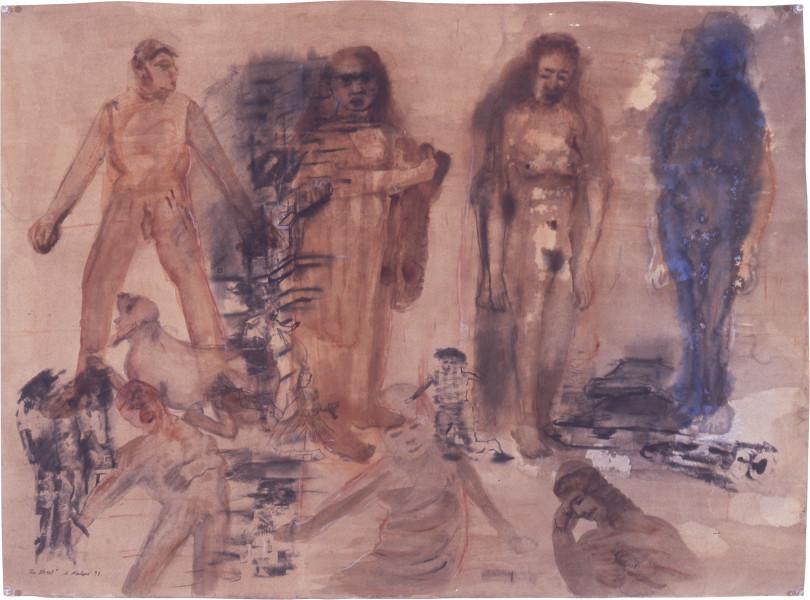 Nalini Malani The Street, 1997; transfer print, gouache on watercolour paper; 68 x 104 cm; enquire