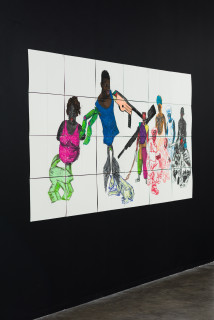 installation view; Pierre Mukeba (Hood Hyena), 2021; charcoal and pastel on archival paper; 120 x 252 cm; enquire