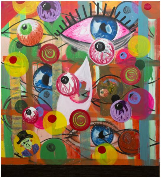 David Griggs Gonna sleep gonna sleep tonight, 2017; acrylic, oil and vinyl records on canvas; 200 x 180 cm; enquire