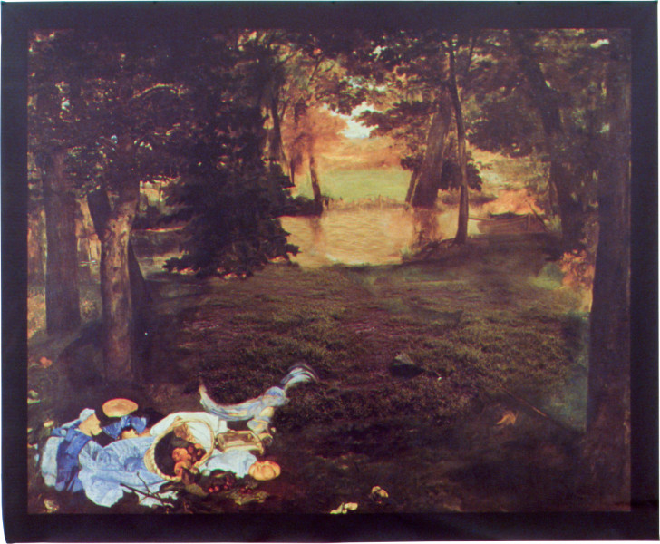 Julie Rrap Untitled (after Manet's Le Dejeuner sur l'herbe), 2002; from the series Fleshed Out; Vutek print; solvent pigment inks on canvas; 81 x 109.5 cm; Edition of 9; enquire