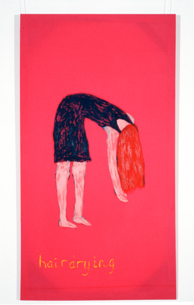Jenny Watson Hairdrying, 1989-90; oil on Rabbit skin Glue primed liberty cotton; 243.5 x 182.5 cm; enquire
