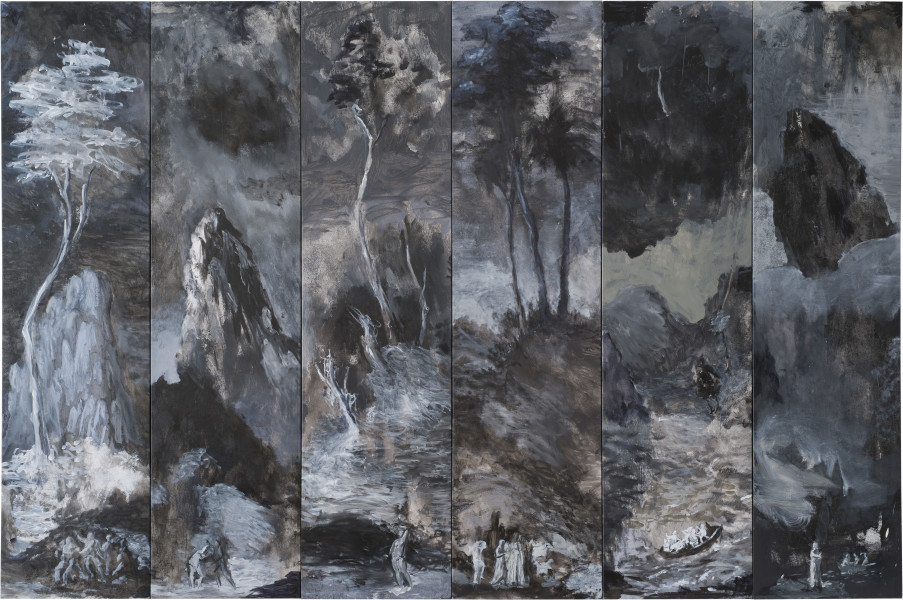 Tony Clark Six Fragmentary Sections from Clark's Myriorama with Scenes from the Life of Jesus, 2014; oil on canvas; 208 x 314 cm; 208 x 51.5 cm (each panel); enquire