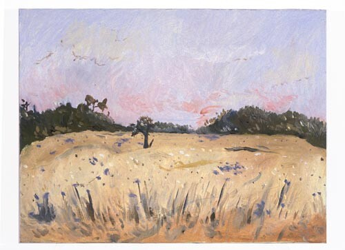 Linda Marrinon Country View with Patterson's Curse, 1996; Oil on canvas; 40 x 30 cm; enquire