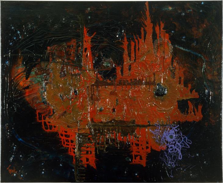 Dale Frank The Crazy Dog Boy, 1986; acrylic & mixed media on canvas; 100 x 120 cm; enquire