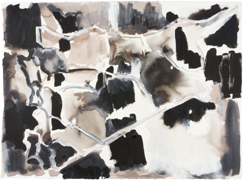 Fiona Hall Cage (Syria map 8), 2017; Cat no. 48; gouache and tapa dye on rag paper; 57 x 76 cm; enquire