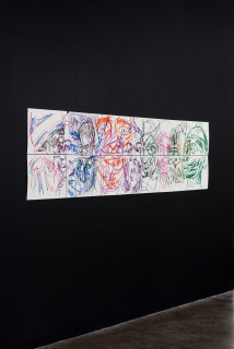 installation view; Pierre Mukeba (Emotions of colour (P2), 2021; charcoal and pastel on archival paper; 60 x 252 cm; enquire