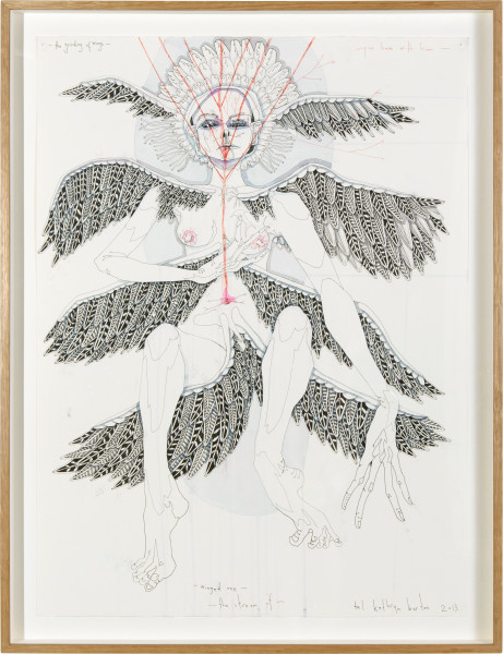 Del Kathryn Barton the grinding of wingsyou have with himwinged methe stream of , 2013; ink, watercolour and synthetic polymer paint on 600gm hot pressed watercolour paper; 85 × 64cm (framed); enquire