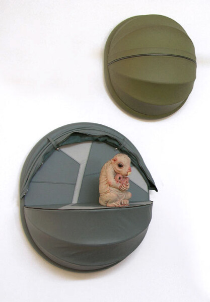 Patricia Piccinini Nature's Little Helpers—Offspring (for the Leadbeater's Possum), 2005; silicon, fibreglass, leather, plywood, hair, 2 parts; 75 x 35 x 35 cm; Edition of 3 + AP 1; enquire
